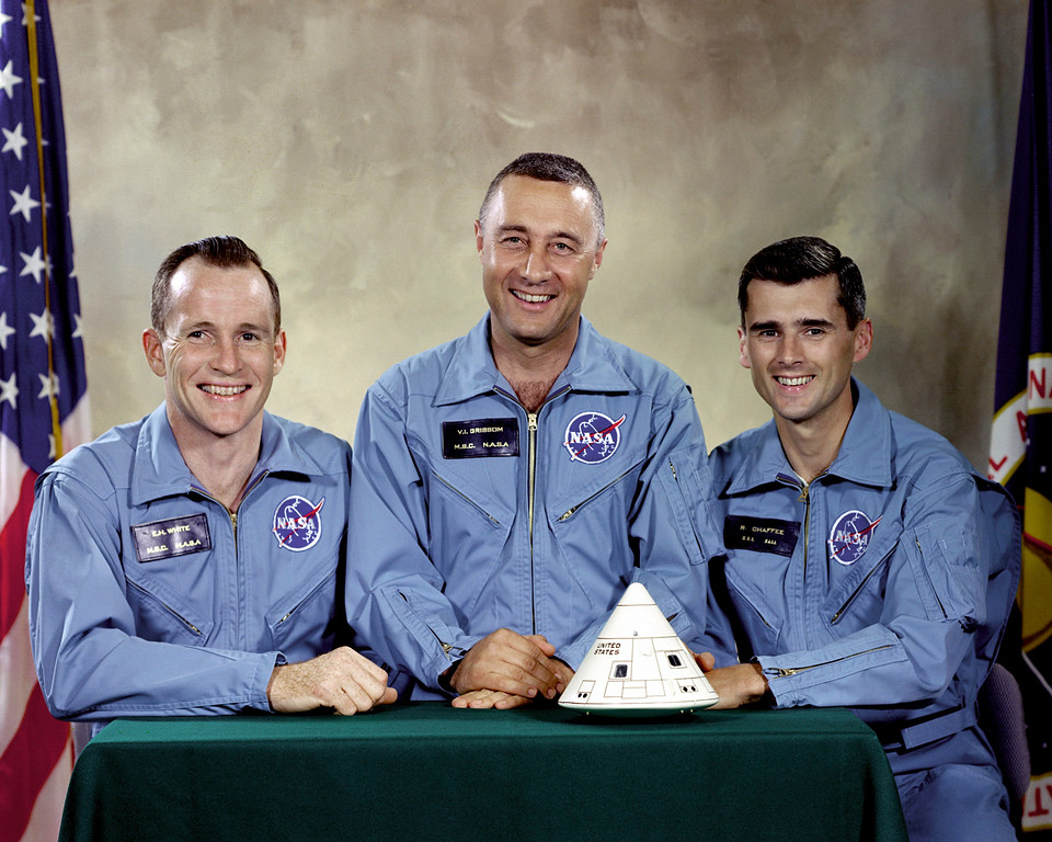 ". This undated photo made available by NASA shows the Apollo 1 crew, from left, Edward H. White II, Virgil I. ""Gus\"" Grissom, and Roger B. Chaffee. On Jan. 27, 1967, a flash fire erupted inside their capsule during a countdown rehearsal, with the astronauts atop the rocket at Cape Canaveral�s Launch Complex 34. All three were killed. (NASA via AP)"