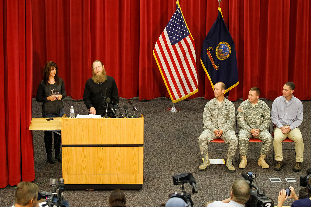. Jani and Bob Bergdahl speak to the media during a press conference at Gowen Field in Boise, Idaho, on Sunday, June 1, 2014. Their son Bowe was freed from captivity Saturday, May 31, 2014, by the Taliban.  Also on the stage are Idaho National Guard Public Affairs Officer Col. Tim Marsano, Idaho Army National Guard Maj. Kevin Hickey, and Army Psychologist Dr. (Col) Bradley Kamrowskipoppen. (AP Photo/Otto Kitsinger)