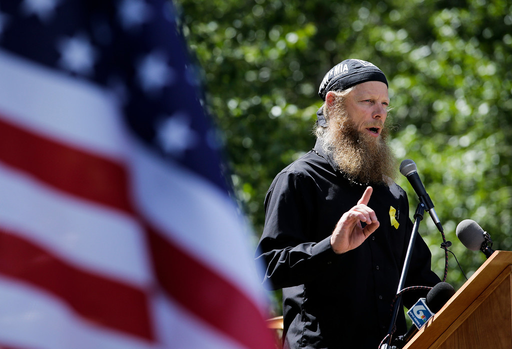 ". Bob Bergdahl, father of captive U.S. Army Sgt. Bowe Bergdahl, speaks at the ""Bring Bowe Back\"" celebration held to honor Sgt. Bergdahl in Hailey, Idaho, Saturday, June 22, 2013. Hundreds of activists for missing service members gathered in a small Idaho town Saturday to hear the parents of the only known U.S. prisoner of war speak just days after his Taliban captors announced they want to exchange him for prisoners being held at Guantanamo Bay. (AP Photo/Jae C. Hong)"