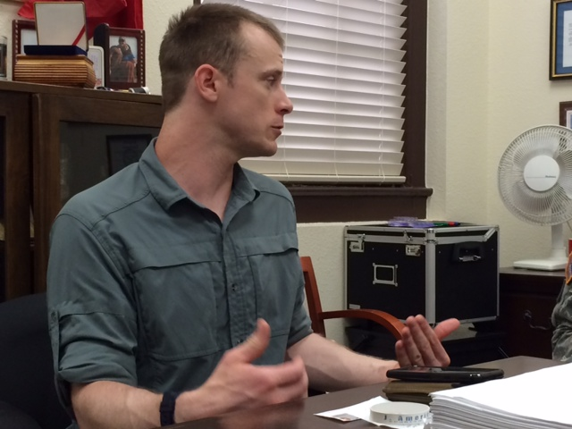 . This photo provided by Eugene R. Fidell  shows Sgt. Bowe Bergdahl preparing to be interviewed by Army investigators in August, 2014.  The U.S. Army has begun questioning Bergdahl about his disappearance in Afghanistan that led to five years in captivity by the Taliban, his attorney and an Army spokeswoman said Wednesday, Aug. 6, 2014. (AP Photo/Eugene R. Fidell)