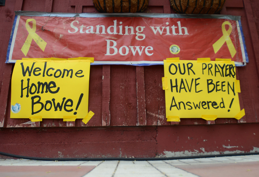 . New signs hang at Zaney\'s coffee house in Hailey, Idaho on Saturday, May 31, 2014 after the announcement that U.S. Army Sgt. Bowe Bergdahl has been released from captivity. Bergdahl, 28, had been held prisoner by the Taliban since June 30, 2009. He was handed over to U.S. special forces by the Taliban in exchange for the release of five Afghan detainees held by the United States. (AP Photo/The Times-News, Drew Nash)