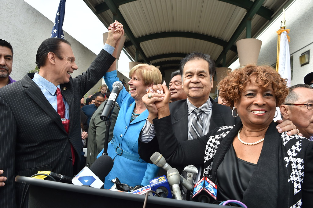 . Carson Mayor Jim Dear, Congresswoman Janice Hahn, Councilman Elito Santarina and Councilwoman Lula Davis-Holmes stand in solidarity, confident of their hopes. Press conference in Carson to announce stadium proposal to lure 2NFL teams to the city .Photo by Brad Graverson/The Daily Breeze 2-20-15