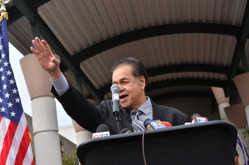. Carson Councilman Elito Santarina. Press conference in Carson to announce stadium proposal to lure 2NFL teams to the city .Photo by Brad Graverson/The Daily Breeze 2-20-15