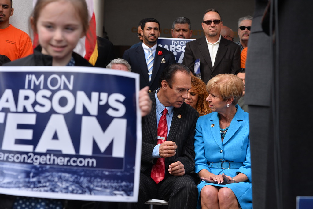 . Carson Mayor Jim Dear and Congresswoman Janice Hahn. Press conference in Carson to announce stadium proposal to lure 2NFL teams to the city .Photo by Brad Graverson/The Daily Breeze 2-20-15