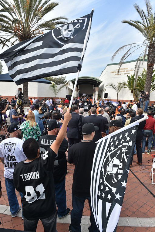 . Raider fans came out, but no Chargers fans were there. Press conference in Carson to announce stadium proposal to lure 2NFL teams to the city .Photo by Brad Graverson/The Daily Breeze 2-20-15