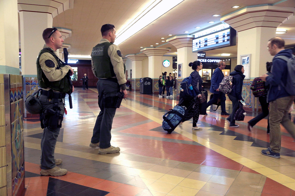 . Members of Los Angeles County Sheriff\'s Department patrol at Union Station in Los Angeles, Tuesday, March 22, 2016. The terror attacks at the international airport and a subway station in Brussels, Belgium, has caused heightened security on Metro lines in Los Angeles Tuesday. (AP Photo/Nick Ut)