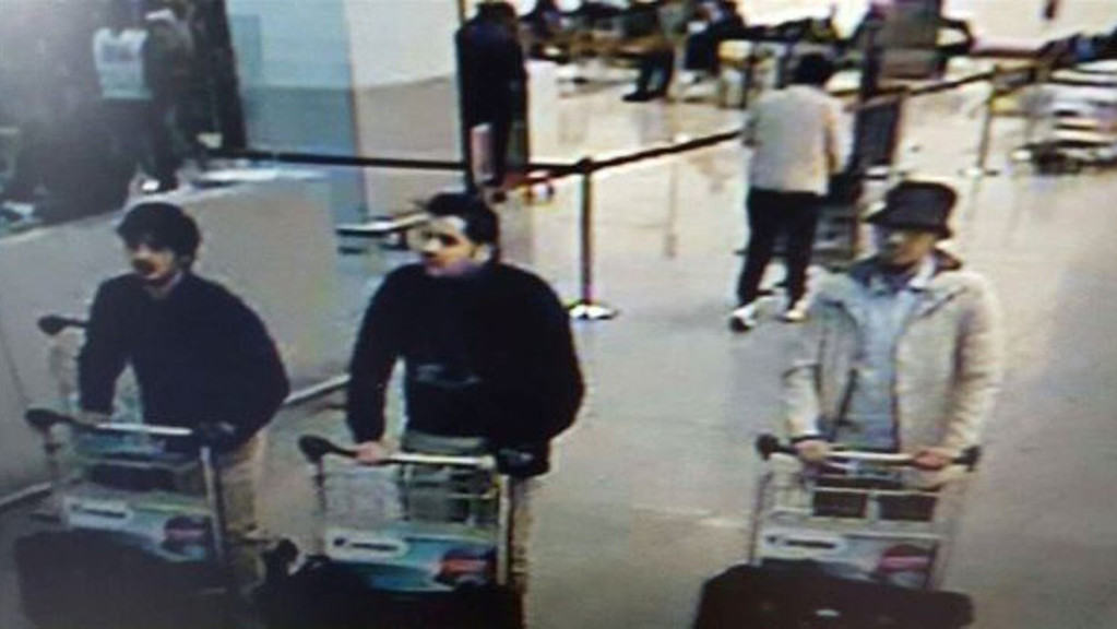 . In this image provided by the Belgian Federal Police in Brussels on Tuesday, March 22, 2016 of three men who are suspected of taking part in the attacks at Belgium\'s Zaventem Airport. The man at right is still being sought by the police and two others in the photo that the police issued were according to a the Belgian Prosecutors \'probably\' suicide bombers. Bombs exploded at the Brussels airport and one of the city\'s metro stations Tuesday, killing and wounding scores of people, as a European capital was again locked down amid heightened security threats. (Belgian Federal Police via AP)