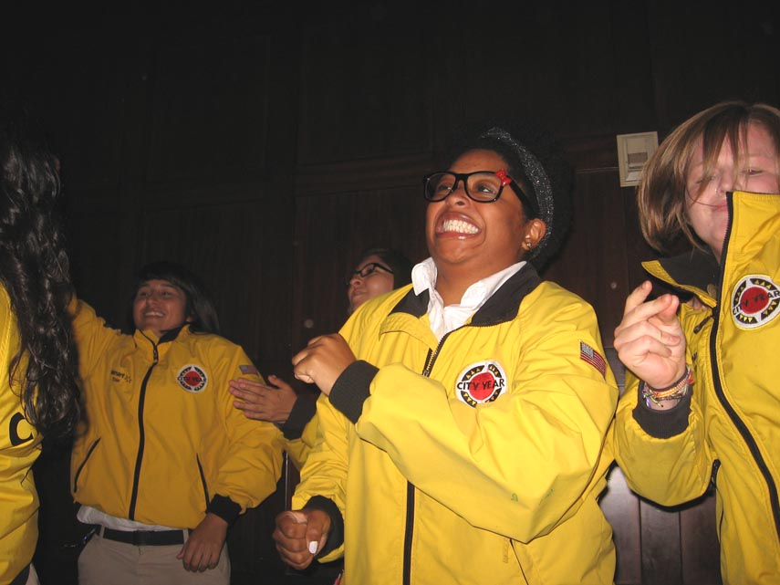. CityYear members show off their spirit during graduation ceremonies May 31, 2013 at the Wilshire-Ebell Theatre near downtown Los Angeles.
