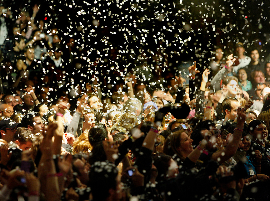 . Confetti comes down on the crowd during the Killers\' set  at the second night of the KROQ Almost Acoustic Christmas show Sunday, December 9, 2007 at the Gibson Amphitheatre. David Sprague/Special to the L.A. Daily News