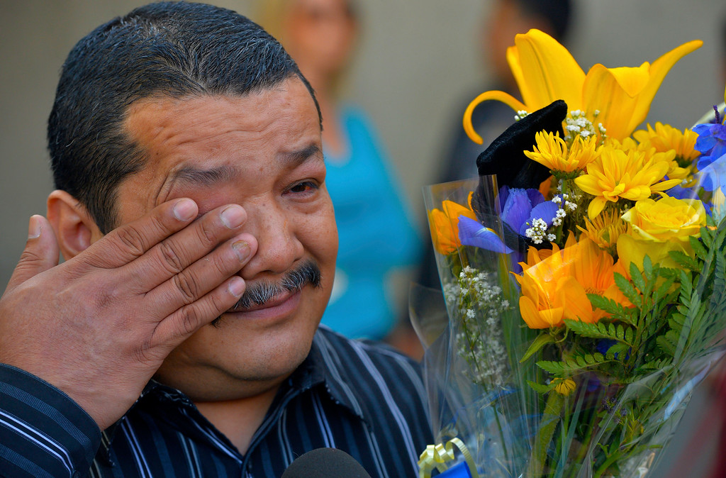 . Juan Banales, father of Aurora Godoy, wipes a tear away as he arrives at L.A. Harbor College in Harbor City, CA on Wednesday, May 11, 2016. On Wednesday, LAHC officials posthumously awarded an Associate Degree in Liberal Arts and Sciences to Aurora Godoy. Godoy, who was killed in the San Bernardino terror attack in December, was two classes shy of earning her degree. (Photo by Scott Varley, Daily Breeze)