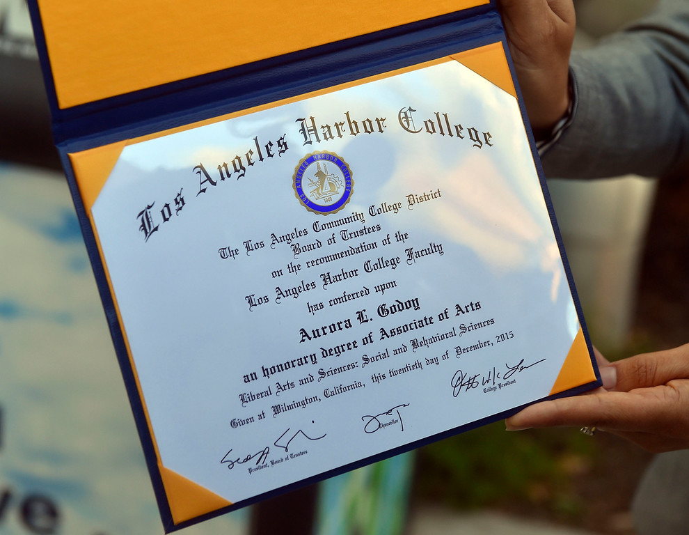 . Aurora Godoy�s Associate Degree in Liberal Arts and Sciences is displaoyed at L.A. Harbor College in Harbor City, CA on Wednesday, May 11, 2016. On Wednesday, LAHC officials posthumously awarded a degree to Aurora Godoy. Godoy, who was killed in the San Bernardino terror attack in December, was two classes shy of earning her degree. (Photo by Scott Varley, Daily Breeze)
