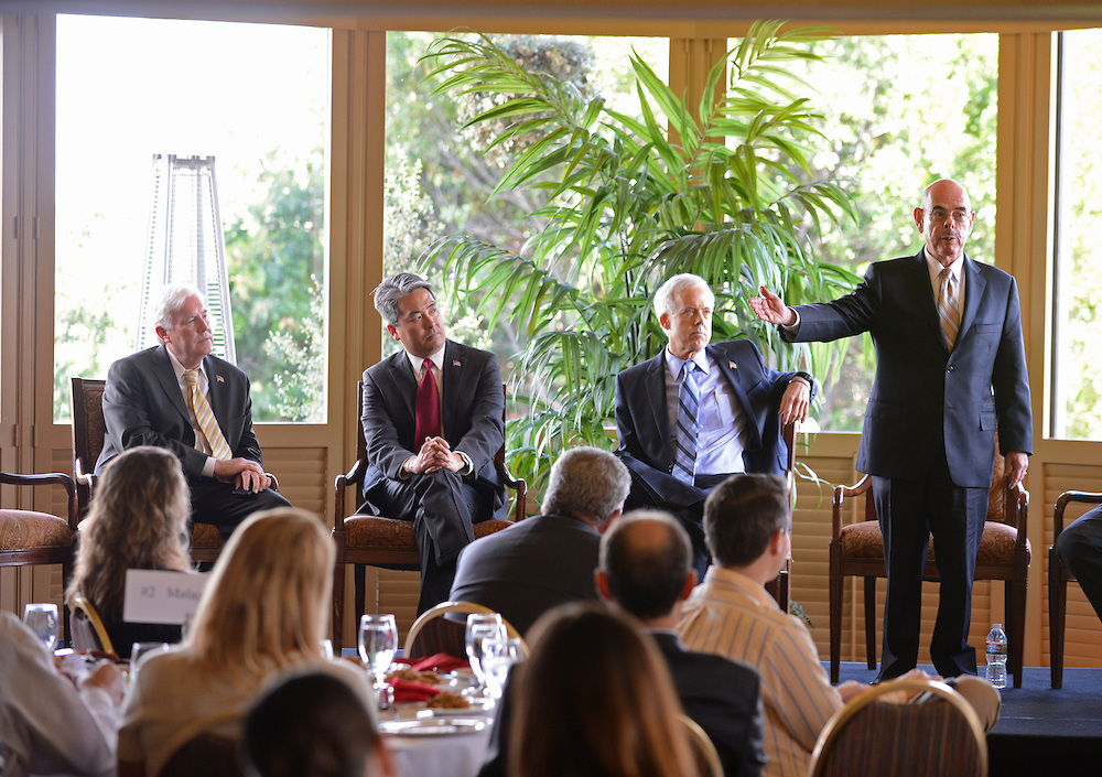 . Congressman Henry Waxman, right, speaks at candidate\'s forum held at Rolling Hills Country Club. From left are: Craig Huey and Al Muratsuchi (candidates for State Assembly D-66), Bill Bloomfield (cand for 33rd Cong. District) Photo by Brad Graverson 10-11-12