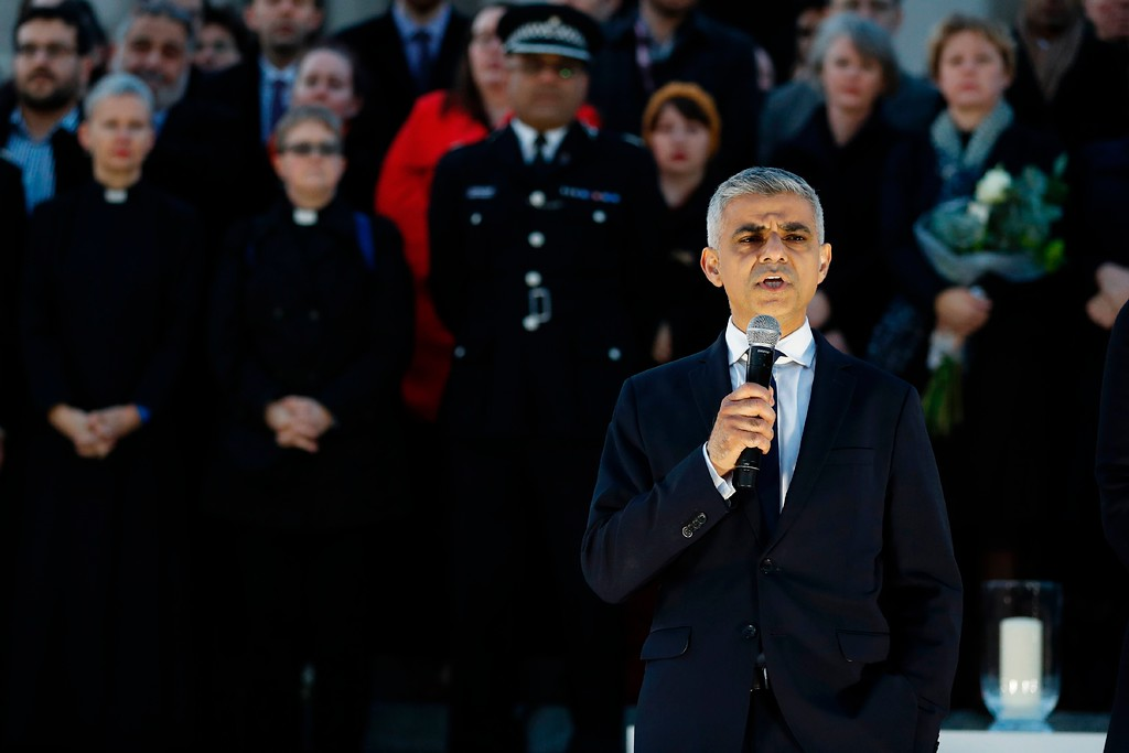 . Mayor of London Sadiq Khan speaks during a vigil in Trafalgar Square in central London on March 23, 2017 in solidarity with the victims of the March 22 terror attack at the British parliament and on Westminster Bridge.  Britain\'s parliament reopened on Thursday with a minute\'s silence in a gesture of defiance a day after an attacker sowed terror in the heart of Westminster, killing three people before being shot dead. Sombre-looking lawmakers in a packed House of Commons chamber bowed their heads and police officers also marked the silence standing outside the headquarters of London\'s Metropolitan Police nearby. (ADRIAN DENNIS/AFP/Getty Images)