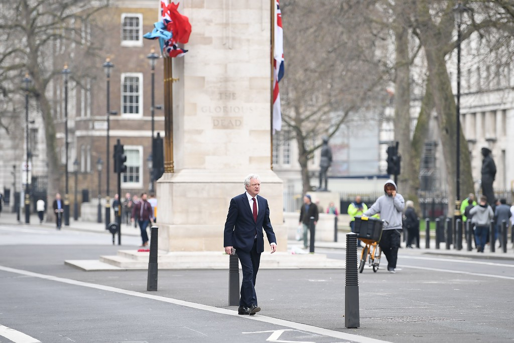 . British Secretary of State for Exiting the European Union (Brexit Minister) David Davis walks along Whitehall near the Houses of Parliament in central London on March 23, 2017 the day after the March 22 terror attack at the British parliament.  Britain\'s parliament reopened on Thursday with a minute\'s silence in a gesture of defiance a day after an attacker sowed terror in the heart of Westminster, killing three people before being shot dead. Sombre-looking lawmakers in a packed House of Commons chamber bowed their heads and police officers also marked the silence standing outside the headquarters of London\'s Metropolitan Police nearby. (JUSTIN TALLIS/AFP/Getty Images)