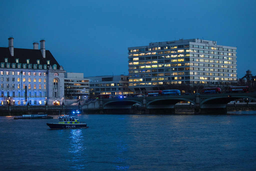 . LONDON, ENGLAND - MARCH 22: A Police boat patrols the river Thames by St Thomas\' hospital and Westminster Bridge on March 22, 2017 in London, England. A police officer has been stabbed near to the British Parliament and the alleged assailant shot by armed police. Scotland Yard report they have been called to an incident on Westminster Bridge where several people have been injured by a car. (Photo by Jack Taylor/Getty Images)