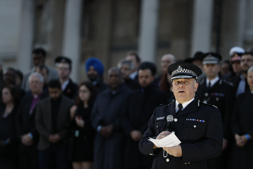 . Acting Commissioner of the Metropolitan Police Service Craig Mackey speaks at a vigil in Trafalgar Square in central London on March 23, 2017 in solidarity with the victims of the March 22 terror attack at the British parliament and on Westminster Bridge.  Britain\'s parliament reopened on Thursday with a minute\'s silence in a gesture of defiance a day after an attacker sowed terror in the heart of Westminster, killing three people before being shot dead. Sombre-looking lawmakers in a packed House of Commons chamber bowed their heads and police officers also marked the silence standing outside the headquarters of London\'s Metropolitan Police nearby. (ADRIAN DENNIS/AFP/Getty Images)