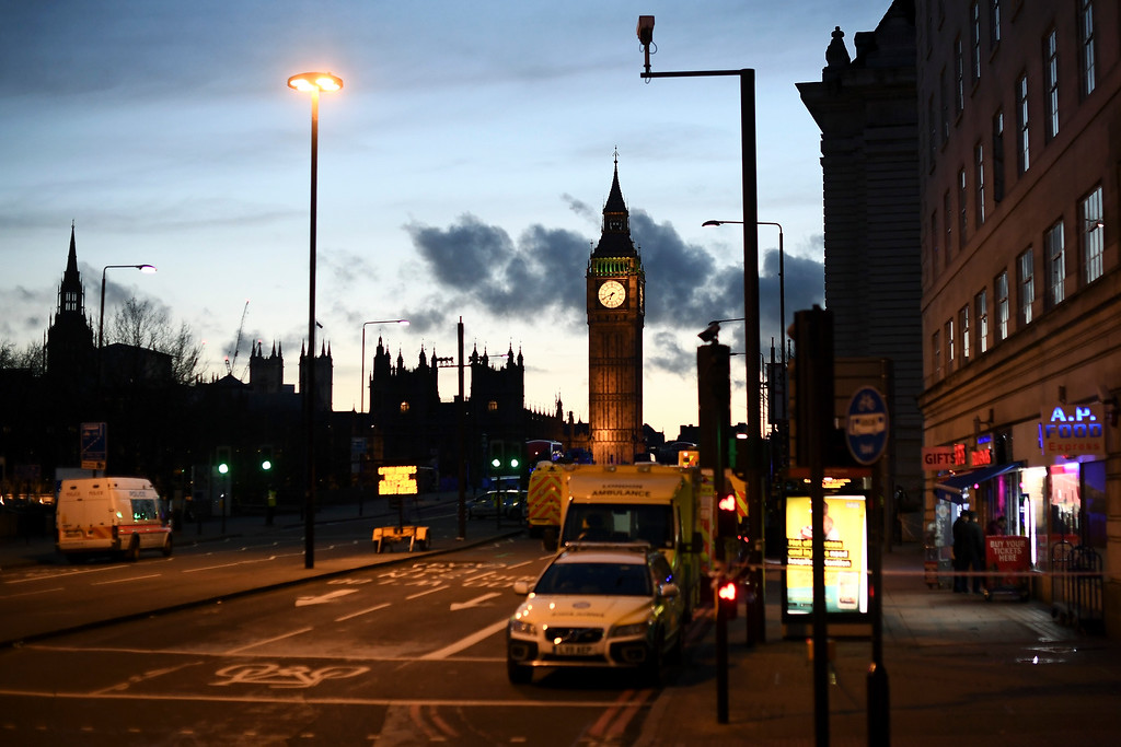 . LONDON, ENGLAND - MARCH 22:  Police cordons are erected following a terrorist attack outside the Houses of Parliament on March 22, 2017 in London, England. Four people including a police officer and his attacker have been killed in two related incidents outside the Houses of Parliament and on Westminster Bridge in what Scotland Yard are treating as a terrorist incident.  (Photo by Carl Court/Getty Images)