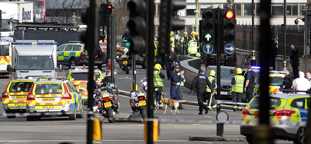 ". A police sniffer dog works with members of the emergency services on Westminster Bridge, alonside the Houses of Parliament in central London on March 22, 2017, during an emergency incident. British police shot a suspected attacker outside the Houses of Parliament in London on Wednesday after an officer was stabbed in what police said was a ""terrorist\"" incident. One woman has died and others have \""catastrophic\"" injuries following a suspected terror attack outside the British parliament, local media reported on Wednesday citing a junior doctor. (DANIEL LEAL-OLIVAS/AFP/Getty Images)"