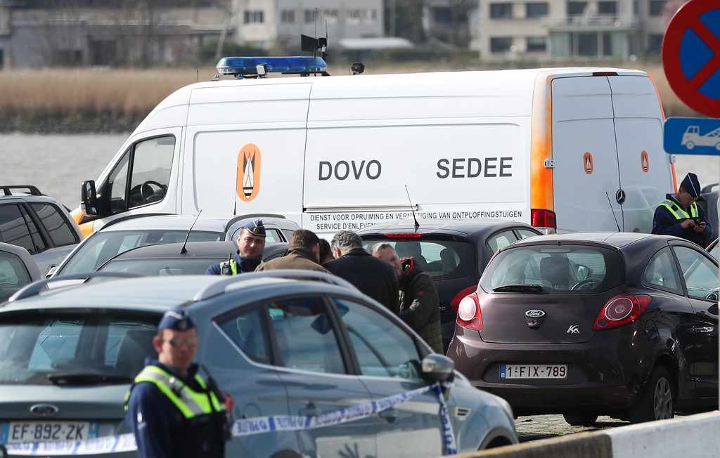 . Police officers and and Sedee-Dovo, the mine clearance service of Belgian defence, patrol  in Antwerp where Belgian police arrested a man on March 23, 2017 after he tried to drive into a crowd at high-speed in a shopping area in the port city of Antwerp, a police chief said.  The man was of north African origin and used a car with French registration plates, Antwerp police chief Serge Muyters said. The incident came a day after an attack on the British parliament killed three people plus the attacker, as well as after the first anniversary of the Brussels attacks in which 32 people died.  (VIRGINIE LEFOUR/AFP/Getty Images)