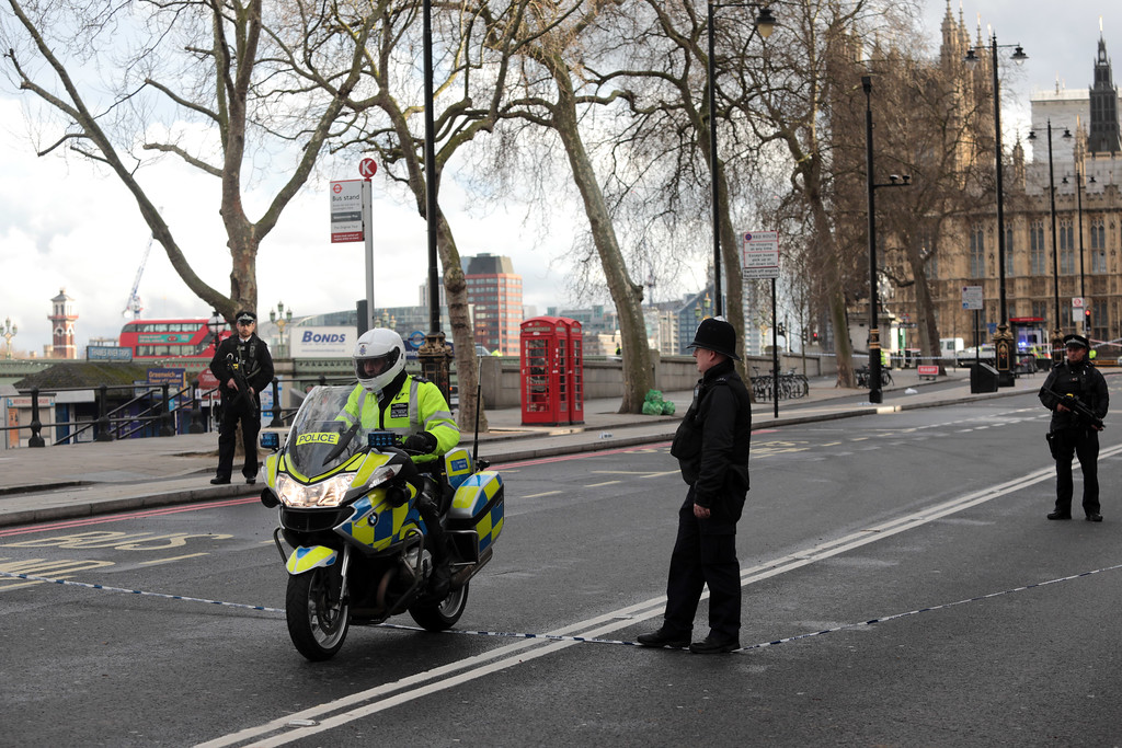 . LONDON, ENGLAND - MARCH 22:  A Police motorcycle leaves the embankment near the Houses of Parliament on March 22, 2017 in London, England.  A police officer has been stabbed near to the British Parliament and the alleged assailant shot by armed police. Scotland Yard report they have been called to an incident on Westminster Bridge where several people have been injured by a car.  (Photo by Jack Taylor/Getty Images)