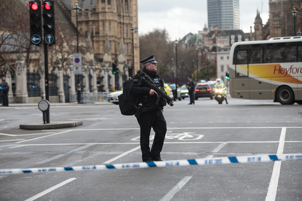 . LONDON, ENGLAND - MARCH 22: Armed officers attend to the scene outside the Houses of Parliament on March 22, 2017 in London, England. A police officer has been stabbed near to the British Parliament and the alleged assailant shot by armed police. Scotland Yard report they have been called to an incident on Westminster Bridge where several people have been injured by a car. (Photo by Jack Taylor/Getty Images)