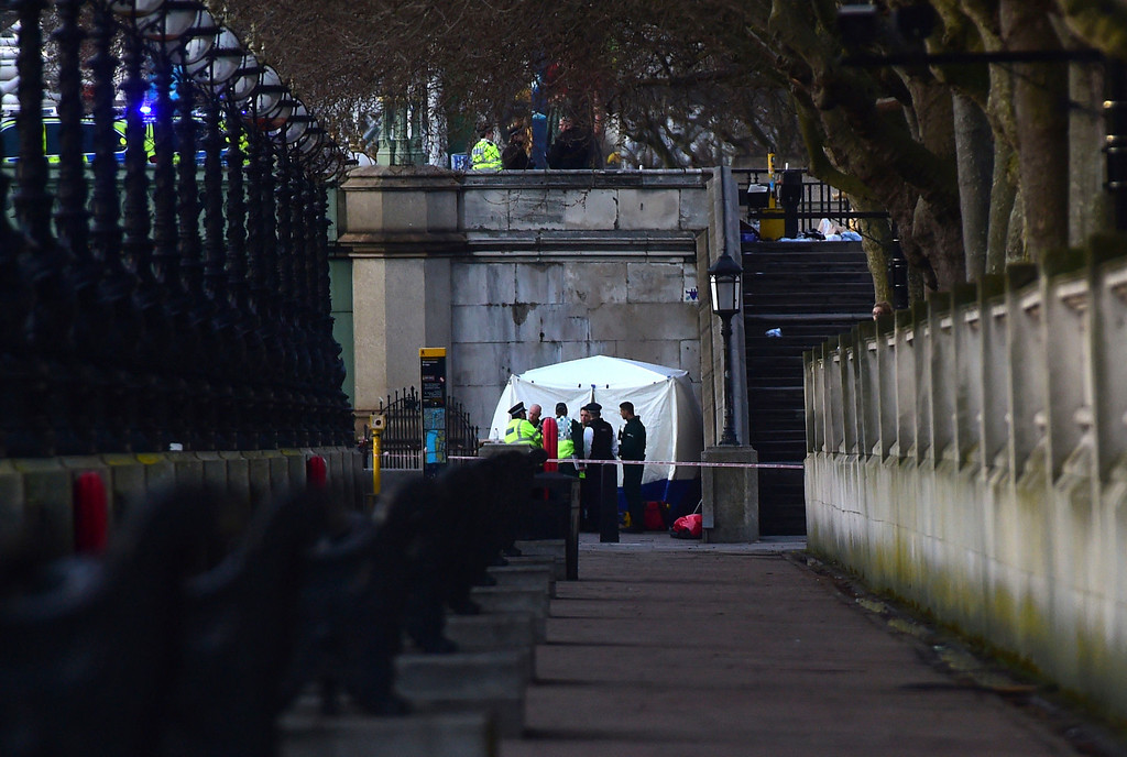 . A forensic tent is seen near St Thomas\' Hospital close to the Palace of Westminster, London, Wednesday, March 22, 2017.  Britain has been targeted Wednesday by what authorities are calling a terrorist incident, after vehicle mowed down pedestrians on London\'s Westminster Bridge, killing at least one woman and leaving others injured,  around the same time as a knife-wielding attacker stabbed a police officer and was shot on the grounds outside Britain\'s Parliament. (Lauren Hurley/PA via AP).