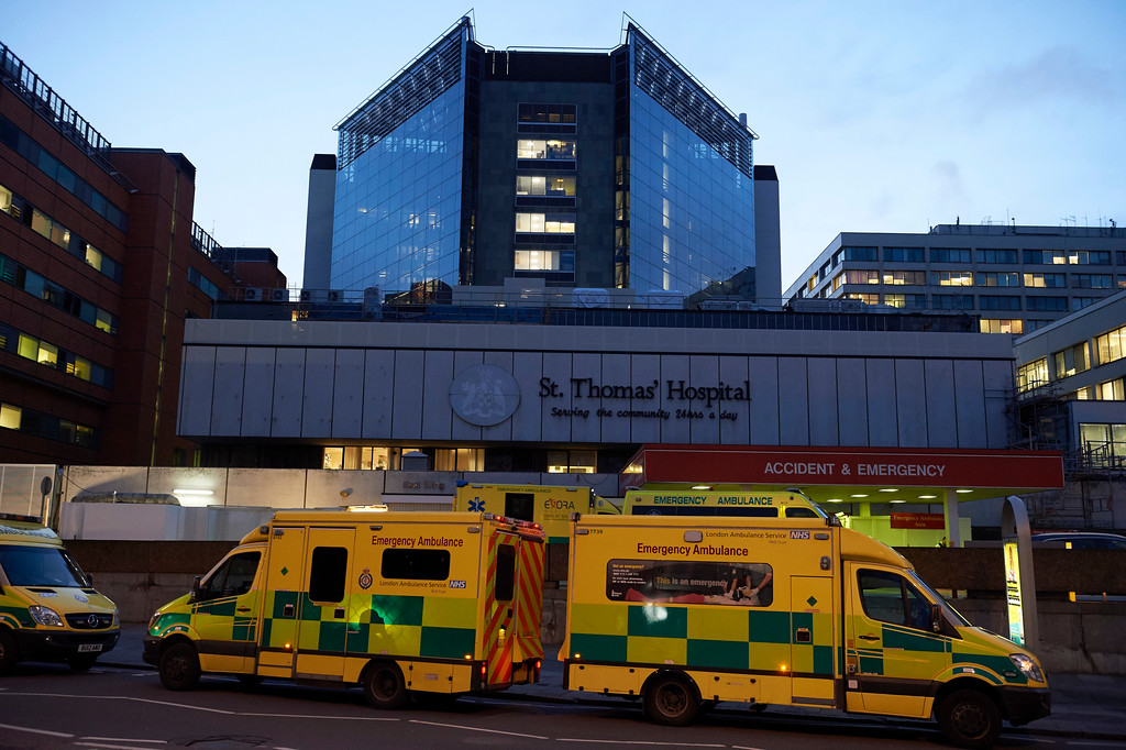 . Ambulances are pictured outside St Thomas\' Hospital in central London on March 22, 2017, in the aftermath of a terror incident at Parliament. A police officer was among three killed Wednesday in a suspected terrorist attack outside Britain\'s parliament by an assailant who was then shot dead by armed police, Britain\'s top anti-terror officer said. Mark Rowley said the two other victims died on Westminster Bridge in London after the attacker mowed down pedestrians in a car, leaving at least 20 people injured in total. (NIKLAS HALLE\'N/AFP/Getty Images)