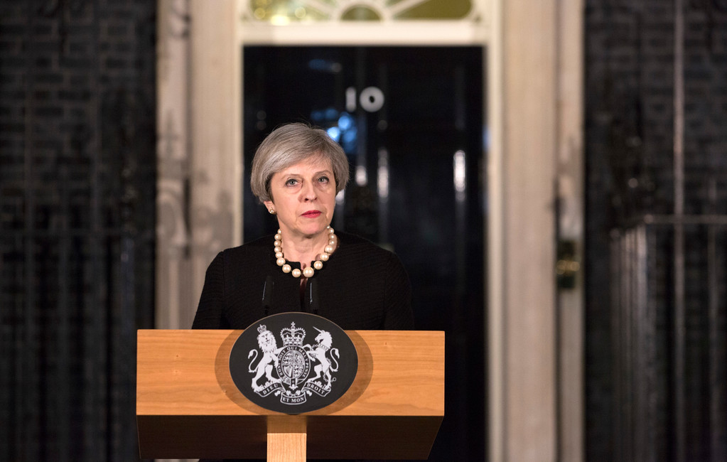 . LONDON, ENGLAND - MARCH 22: Prime Minister Theresa May makes a statement in Downing Street following the terrorist incident in Westminster on March 22, 2017 in London, England. Four people including a police officer and his attacker have been killed in two related incidents outside the Houses of Parliament and on Westminster Bridge in what Scotland Yard are treating as a terrorist incident.   (Photo by Richard Pohle - WPA Pool/Getty Images)
