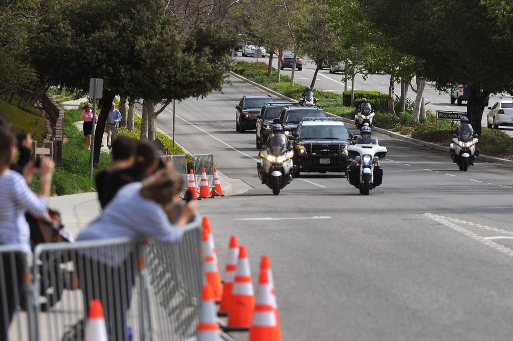 . A motorcade drives up Madera Road in Simi Valley for the Nancy Reagan funeral at the Ronald Reagan Presidential Library, Friday, March 11, 2016. This is not Michelle Obama\'s motorcade. (Photo by Michael Owen Baker)