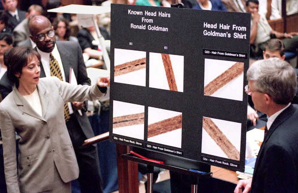 ". Lead prosecutor Marcia Clark (L) and Christopher Darden (2nd L) and FBI agent Douglas Deedrick stand at a chart showing hair samples from Ronald Goldman during direct examination 29 June during the O.J. Simpson double murder trial.  Deedrick testified hairs that were ""forcibly removed\"" were found on a bloody glove behind O.J. Simpson\'s house and matched the stabbing victims Nicole Brown Simpson and Ronald Goldman.              (POO/AFP/Getty Images)"