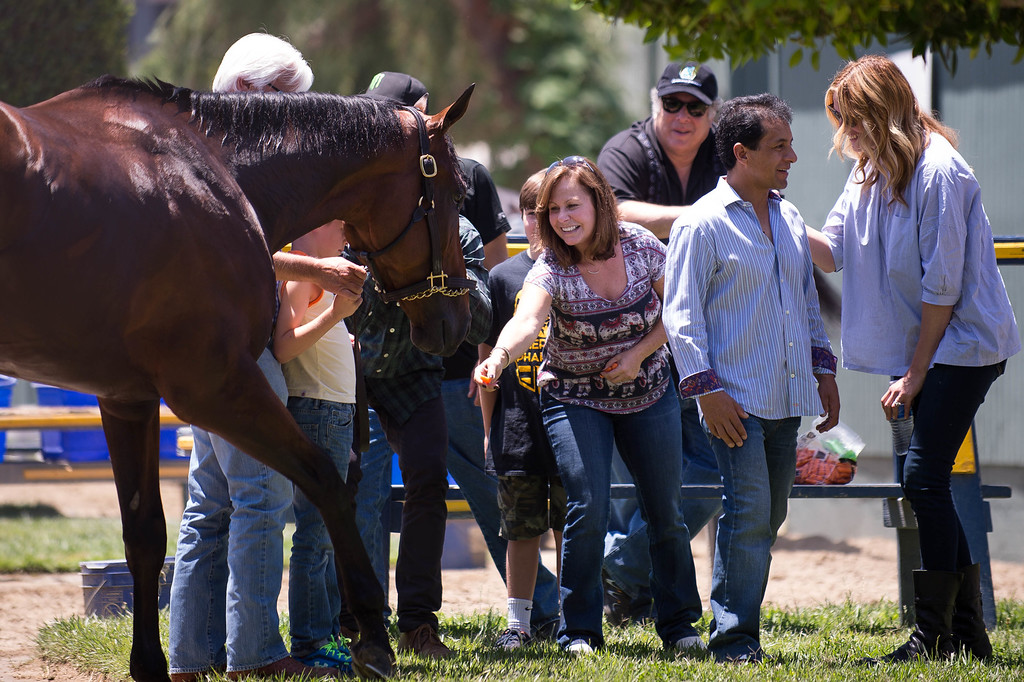 . Actress Julia Roberts talks to Jockey Victor Espinoza as Triple Crown-winner American Pharoah returns home to Bob Baffert\'s barn at Santa Anita Thursday, June 18, 2015. American Pharoah and Espinoza broke a 37-year Triple Crown drought by winning the Kentucky Derby, Preakness and Belmont Stakes. (Photo by Sarah Reingewirtz/Pasadena Star-News)