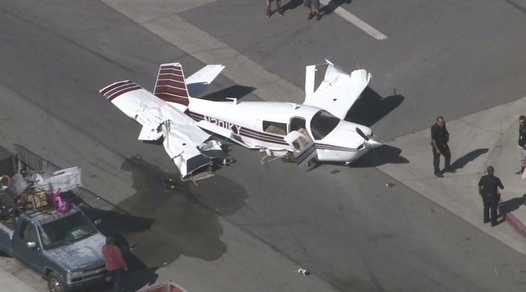 . KTLA\'s helicopter pilot/reporter Tim Lynn posted this image of the small plane that crashed in the afternoon on Monday, Feb. 22, 2016, on Osbourne Street near San Fernando Road, just south of Whiteman Airport in Pacoima. (Image courtesy of KTLA5)