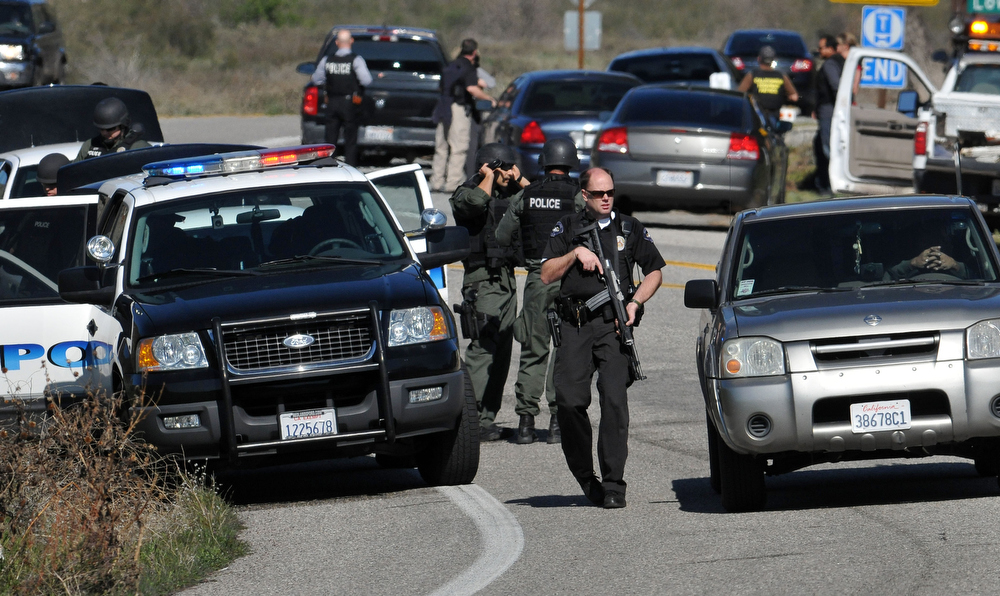 Description of . San Bernardino County Sheriffs, assisted by multiple agencies from the region, block Highway 38 at Bryant St. following a gunfight between officers and Christopher Dorner took place further up the highway. Dorner shot two deputies, killing one and injuring the other, both men were transported to Loma Linda University Medical Center for treatment, Tuesday, Feb. 12, 2013.