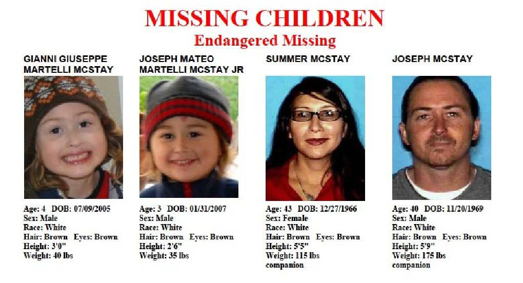 . This file image provided by the San Diego Police Department shows members of the McStay family, who disappeared from their Fallbrook home in 2010. (AP Photo/San Diego Police Department, File)