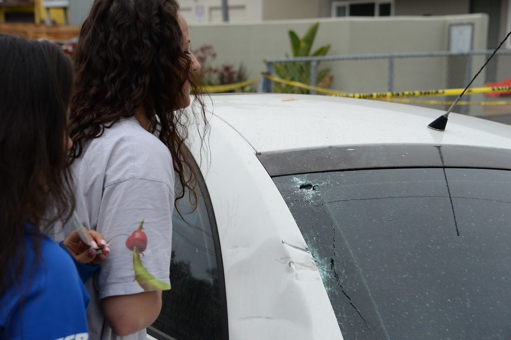 """. Students look at what police indicated were bullet holes in car window close to where a suspected gunman\'s car crashed on May 24, 2014, after a drive-by shooting in Isla Vista, California, a beach community next to the University of California Santa Barbara. Seven people, including the gunman, were killed and seven others wounded in the May 23 mass shooting, Santa Barbara County Sheriff Bill Brown said Saturday. Brown said at a pre-dawn press conference that the shooting in the town of Isla Vista \""""appears to be a mass murder situation.\"""" Driving a black BMW, the suspect opened fire on pedestrians from his vehicle at several locations in the town.            (ROBYN BECK/AFP/Getty Images)"""