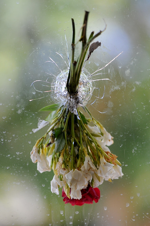 . Flowers were placed in bullet holes in the window of the IV Deli Mart on Pardall Road, Sunday, May 25, 2014, one of the locations of Friday night\'s shootings in Isla Vista. (Photo by Michael Owen Baker/Los Angeles Daily News)