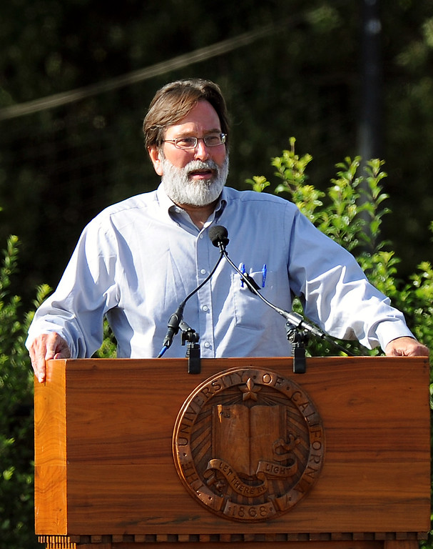 . Richard Martinez, the father of slain student Christopher Ross Michaels-Martinez speaks about the loss of his son during a memorial service at Harder Stadium at UCSB for the victims of Friday\'s Isla Vista rampage, Tuesday, May 27, 2014. (Photo by Michael Owen Baker/Los Angeles Daily News)