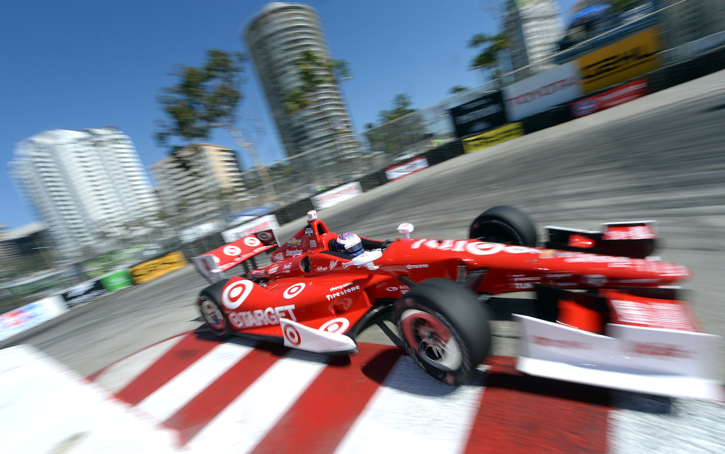 . Indycar driver Scott Dixon drives through the hairpin Friday morning April 11, 2014 in the first practice session at the 40th Toyota Grand Prix of Long Beach.  (Will Lester/Inland Valley Daily Bulletin)