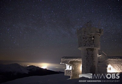 Milky Way behind the Mount Washington Observatory weather instrument tower.  Taken March 2013.