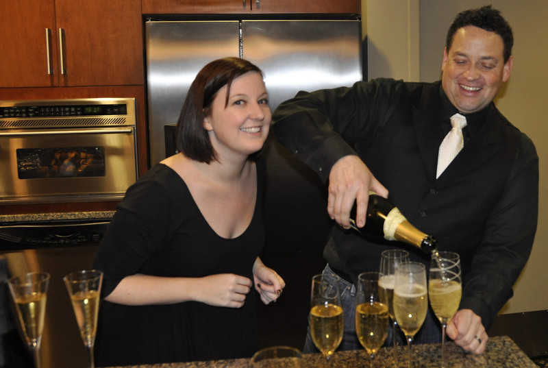 Weddding Noshers toast with actual wedding Champagne!