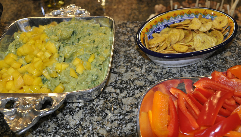 Mango Guacamole with plantain chips