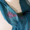 Patches.  Group A.<br /> <br /> Patches of supersoft, hand-dyed merino wool, hand- felted into hand-dyed 5mm teal silk chiffon. Hand rolled hem. Recycled sari silk yarn grace notes, for shine and polish. <br /> <br /> Light and elegant. Wear this to a concert, or your favorite white-tablecloth restaurant. You'll look great.<br /> <br /> Hand wash lukewarm/gentle, roll in towel, dry flat or hang to dry, touchup iron the edges if you want. <br /> <br /> Monitors vary. I checked color on two; they looked pretty different. Tried to average for general accuracy. But your results may differ.