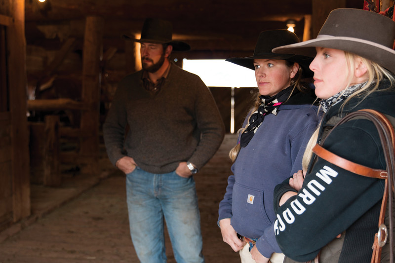 Matthew Gaston | The Sheridan Press<br>From left, Chase Stoltz, Kayla Marchant and Milessia Forrette, just before riding out to gather up cattle for sorting Thursday, Oct. 25, 2018.