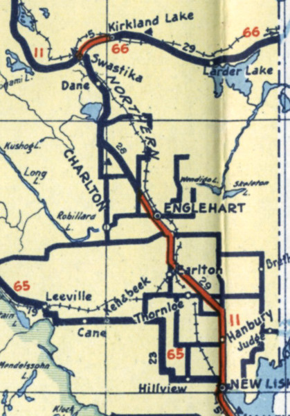 Ontario Official Map 1940. Swastika area.