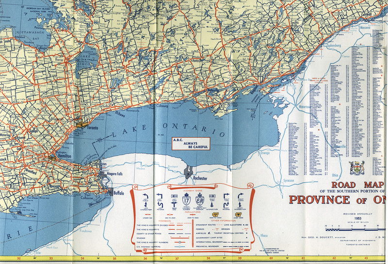 Ontario Official Map 1953. Southern Ontario Kitchener to Kingston.