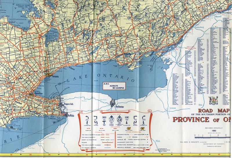 Ontario Official Highway Map 1953 paullantz