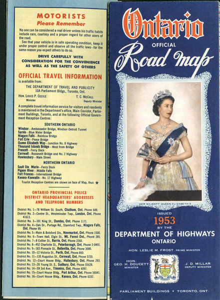 Ontario Official Map 1953. Cover.