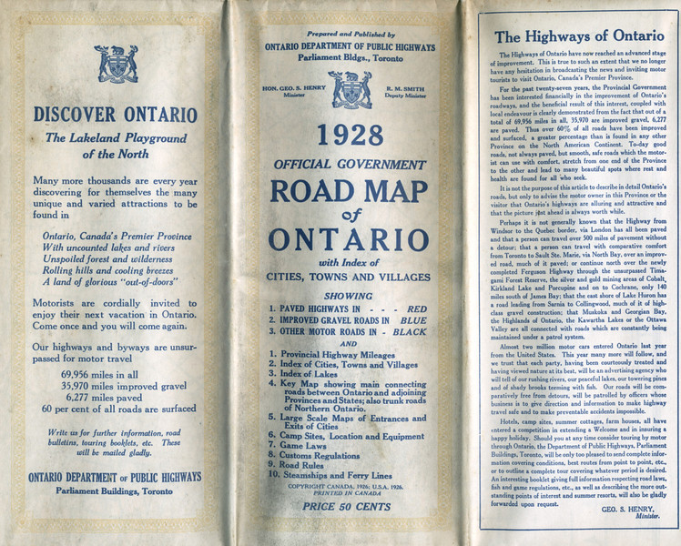 Ontario Official Highway Map 1928. Cover.