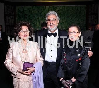 Marta and Placido Domingo, Justice Ruth Bader Ginsburg. Photo by Tony Powell. Opera Ball. Embassy of China. May 7, 2011