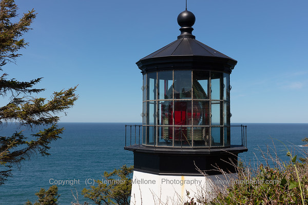 Retired Cape Meares Lighthouse with First-Order Red and White Fresnel Lens